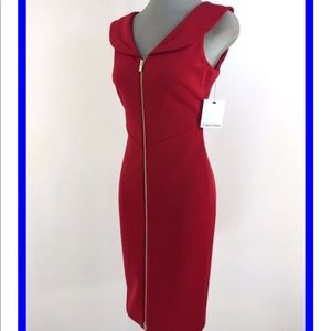 Calvin Klein red dress with gold zipper